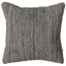 Grey Leather Chindi Pillow (Each One Will Vary)