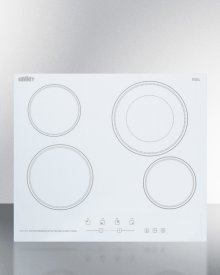 """230v 4-burner Cooktop In White Ceramic Schott Glass With Digital Touch Controls and an Extra Large 8"""" Dual Cooking Element"""