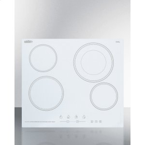 """Summit230v 4-burner Cooktop In White Ceramic Schott Glass With Digital Touch Controls and an Extra Large 8"""" Dual Cooking Element"""