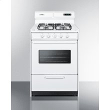 """24"""" Wide Gas Range In White With Sealed Burners, Digital Clock/timer, Oven Window, Interior Light, and Spark Ignition"""