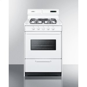 """Summit24"""" Wide Gas Range In White With Sealed Burners, Digital Clock/timer, Oven Window, Interior Light, and Spark Ignition"""