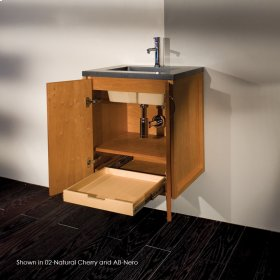 """Wall-mount under-counter vanity with two doors and one pull-out shelf, polished chrome pulls .22 1/4""""W x 16 1/4""""D x 24""""H"""