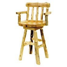 "Counter Stool with back and arms - 24"" high - Natural Cedar - Wood Seat"