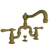 Antique-Brass Lavatory Bridge Faucet