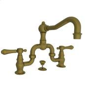 Antique-Brass Lavatory Bridge Faucet