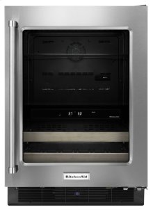 "24"" Beverage Center with Glass Door and Wood-Front Racks - Stainless Steel"