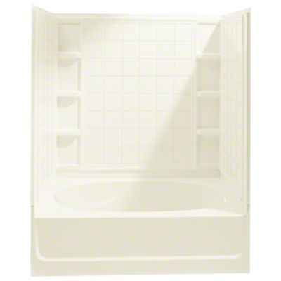 "Ensemble™, Series 7110, 60"" x 36"" x 72"" Tile Bath/Shower with Age in Place Backers - Right-hand Drain - KOHLER Biscuit"