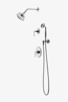 "Roadster Pressure Balance Shower Package with 5"" Shower Rose, Handshower and Diverter Lever Handle STYLE: RDSP11"