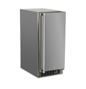 "Marvel Outdoor 15"" Crescent Ice Machine - Solid Stainless Steel Door - Right Hinge"