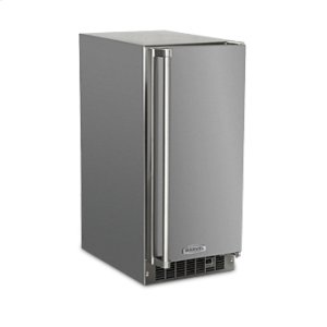 """Marvel Outdoor 15"""" Crescent Ice Machine - Solid Stainless Steel Door - Left Hinge"""