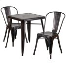 23.75'' Square Black-Antique Gold Metal Indoor-Outdoor Table Set with 2 Stack Chairs Product Image