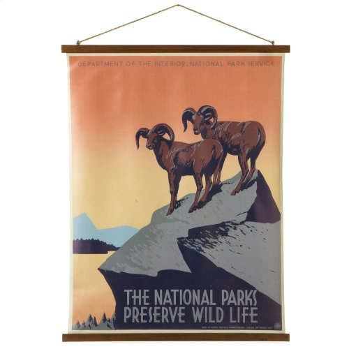 """""""The National Parks Preserve Wild Life"""" Rolled Canvas Wall Decor."""