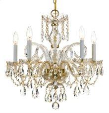Traditional Crystal 5 Light Swarovski Strass Crystal Brass Chandelier