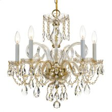 Traditional Crystal 5 Light Swarovski Strass Crystal Brass Chandelier