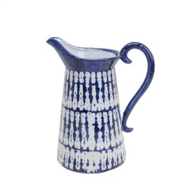 Blue/white Glaze Pitcher 11""