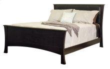 Clarington Bed, With Black Leather Headboard & Wood Rails