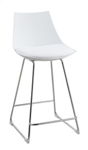 "Neo - 24"" Barstool White Pu Seat High Back-chrome Base Rta Product Image"