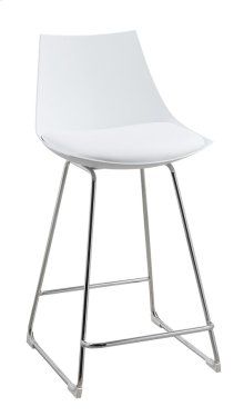 "Neo - 24"" Barstool White Pu Seat High Back-chrome Base (Set of 2)"