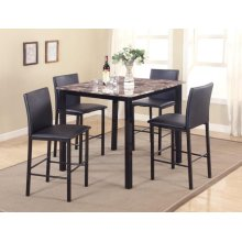 Aiden 5 Piece Faux Marble Top Dining Set