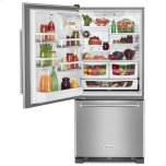 KitchenAid 19 cu. ft. 30-Inch Width Full Depth Non Dispense Bottom Mount Refrigerator - Stainless Steel