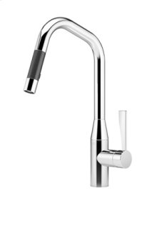 Single-lever mixer pull-down with spray function - chrome