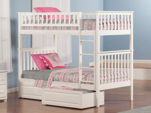 Woodland Bunk Bed Twin over Twin with Raised Panel Bed Drawers in White