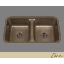 Zena - Double Basin Kitchen Sink Plain Pattern - Pewter