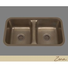 Zena - Double Basin Kitchen Sink Plain Pattern - Pewter