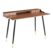 Harvey Desk - Black Metal, Walnut Wood, Gold Metal
