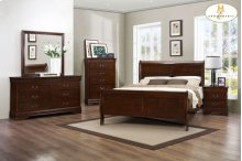 Queen Sleigh Bed Set (Queen Bed, 5 Drw Chest, Nightstand)