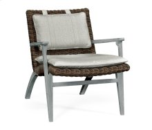 Cloudy Grey & Rattan Lounge Chair, Upholstered in Standard Outdoor Fabric
