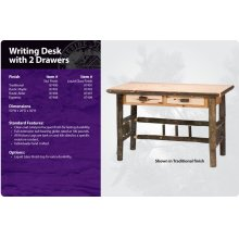 Hickory Writing Desk with 2 Drawers