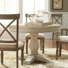 Aberdeen - Round Dining Table Pedestal - Weathered Worn White Finish Product Image