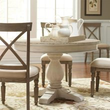 Aberdeen - Round Dining Table Pedestal - Weathered Worn White Finish
