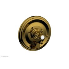HEX TRADITIONAL Pressure Balance Shower Plate with Diverter and Handle Trim Set 4-095 - French Brass