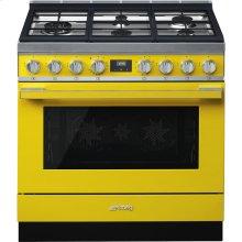"Portofino Pro-Style Dual Fuel Range, Yellow, 36"" x 25"""