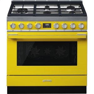 """SmegPortofino Pro-Style Dual Fuel Range, Yellow, 36"""" x 25"""""""