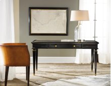 Ebonized Classicale Writing Table, Painted Ebony Finish. Leather Embossed Top. Solid Brass Details.