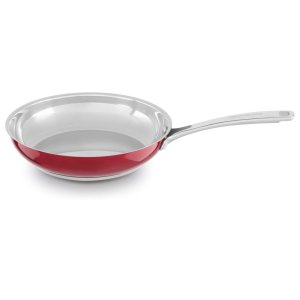 """Stainless Steel 10"""" Skillet - Candy Apple Red"""