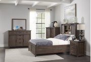 Madison County 3 PC King Barn Door Bedroom: Bed, Dresser, Mirror - Barnwood Product Image