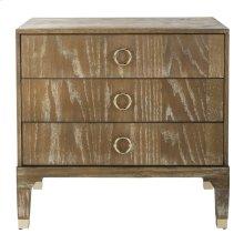 Lorna 3 Drawer Contemporary Night Stand - Rustic Oak