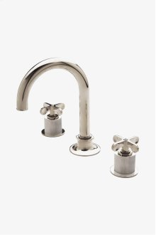 Henry Gooseneck Three Hole Deck Mounted Lavatory Faucet with Coin Edge Cylinders and Metal Cross Handles STYLE: HNLS23