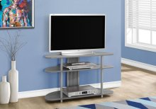 "TV STAND - 38""L / GREY WITH SILVER ACCENT"