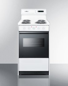 """Deluxe 220v Electric Range In Slim 20"""" Width With Digital Clock/timer, Black See-through Glass Oven Door and Light"""
