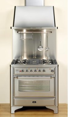 "Chrome on Midnight Blue 36"" Majestic Dual Fuel Range Also Sold with a UAM90BL 36 Inch Wall Mount Chimney Hood with 600 CFM"