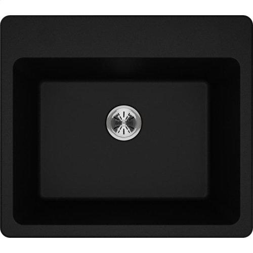 """Elkay Quartz Classic 25"""" x 22"""" x 11-13/16"""", Drop-in Laundry Sink with Perfect Drain, Black"""