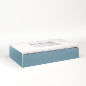 """Cartesian 36-1/8"""" X 7-1/2"""" X 21-3/4"""" Slim Drawer Vanity In Ocean With Slow-close Tip Out Drawer and No Night Light"""