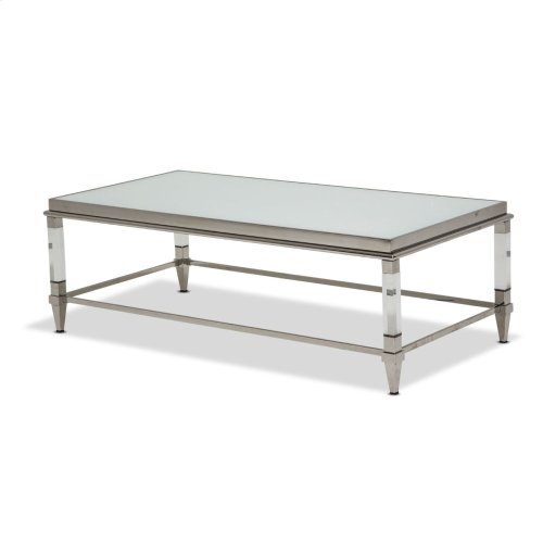 Rectangular Cocktail Table W/glossy White Glass Top