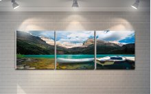 """3 Pieces Printed Art """"lake and Mountains"""" Composition"""