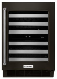 """24"""" Stainless Steel Wine Cellar with Metal-Front Racks - Black Stainless"""